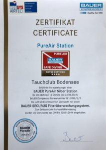 PureAir Zertifikat